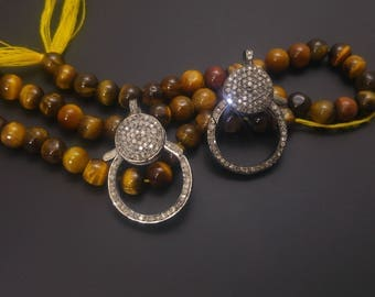 High Quality Pave Diamond Clasp - Both Side Diamonds- 925 Sterling Silver- Pave Diamond Findings - High Quality Sparkly Diamonds Clasp