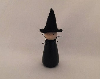 Small Peg Doll Witch-Halloween Peg Doll-Peg Person-Halloween Decoration-Witch Decoration-Wooden Peg Doll