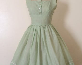 1950s Dress • 1950s Mint Green Dress