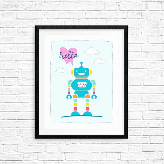 Printable Art, Robot Hello, Pattern, Children's Art, Minimalist Art, Art Printable, Home Decor, Digital Download Print