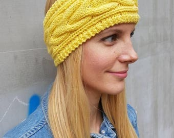 Yellow cable headband, cute wool knit thick yellow ear warmer, warm cute ear headband, snow cable knit winter headband, crochet headband