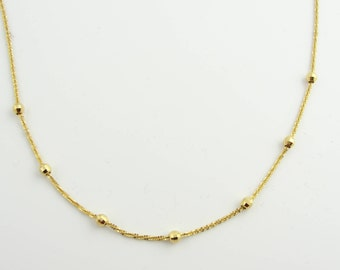 Disco ball Stationed Necklace- 14k Yellow Gold