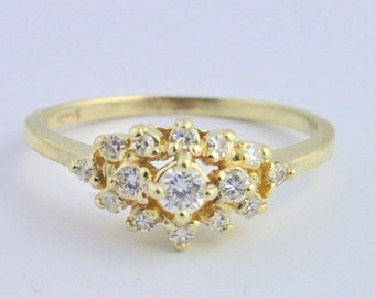 Vintage Stacked Diamond Engagement Ring- 14k Yellow Gold