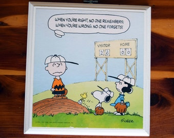 Charlie Brown/Snoopy/Woodstock/Lucy/Charles Schulz/Baseball/Hallmark Plaque/Hallmark Cards/United Feature Syndicate/Wall Decor/Peanuts Decor