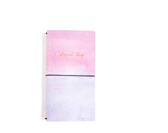 Pink Cotton Candy Watercolour Faux Leather Notebook, Refillable Journal, Faux Leather Journal, Fauxdori - PJ293