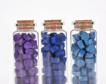 Purple & Blue Wax Beads, Sealing Wax, Stamp Seal Wax, Bottled Wax - PJ062