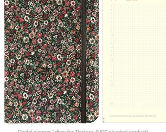 Floral Digital Planner GoodNotes, Dated 500+ pages minimal planner / diary, working tabs, iPad pro planner, PDF planner, vintage floral