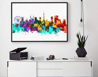 Bristol City Print, Bristol Skyline, Bristol Wall Art Decor, Birthday Gift, Bristol Home Decor, Giclee Print, Bedroom Wall Art (N1019)