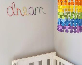 Rainbow Baby Mobile, Baby Mobiles, Nursery Decor, Party decoration, Rainbow Decor, Multicoloured, Polka Dot, Crib Mobile