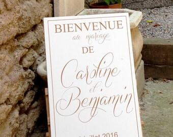 Panneau en bois personnalisable pour mariage.Pancarte mariage.Table accueil mariage personnalisée.Wedding wood welcome sign.