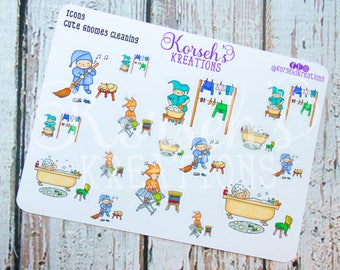 Icons Cute Gnomes Cleaning - Stickers - Gnomes Chores - Chores Icons - Life Planners - Gnomes Cleaning Stickers