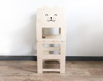 Standing tower for toddler / PLAIN / Little tower/ kitchen tower / kitchen helper / step stool / Montessori learning stool / kids table /
