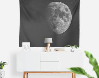 La Luna Wall Tapestry | Wall Hanging | The Moon | Boho Tapestry | Astronomy Wall Tapestry | Extra Large Wall Art | Black & White | Night Sky
