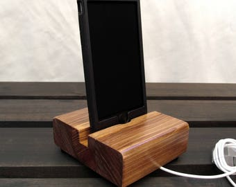 Redwood iphone stand, wood iphone dock, ipod docking station, universal wood phone stand, iphone 6 charging stand, smartphone, redwood dock.