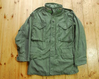 Vintage Distressed American M-65 Plain Green Winter Cold Weather Field Coat Jacket Small