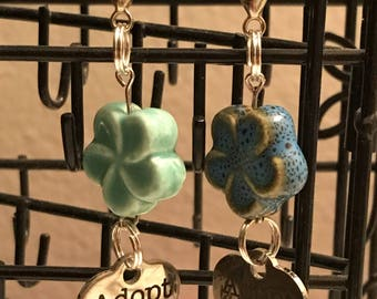 Adopt Dog Collar Charm w Ceramic Flower Bead Accent