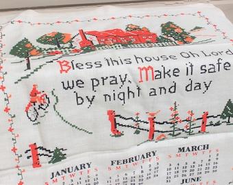 Vintage Linen Tea Towel 1968 Prayer Blessing Calendar