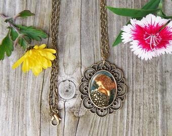 Pre-raphael Necklace, Edward Burne-Jones Glass Dome Pendant Necklace