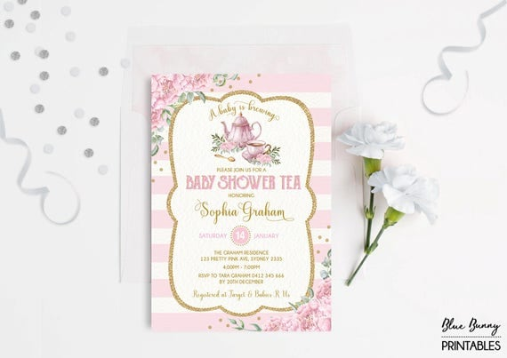 baby shower tea party invitation pink gold floral invite high tea a baby