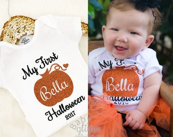 Baby Girl My First Halloween, Baby Girl First Halloween, 1st Halloween, Newborn Halloween Costume, Baby Pumpkin Outfit, Happy Halloween