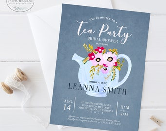 TEA PARTY BRIDAL Shower Invitation Blush Floral Bridal Shower Invite bridal tea invites bridal brunch invitation bridal luncheon printable