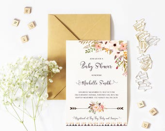 Baby Shower Invitation Girl, Boho Baby Shower Invitation, Floral, Watercolor, Flowers, Rustic, Arrows, Printable, Printed
