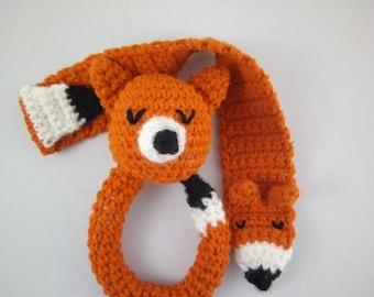 Kit crochet : hochet renard et son attache-tétine assortie