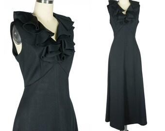 Ruffle Maxi Dress 70s Black Disco Dress Vintage Dress