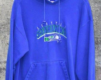 Seattle Seahawks Sweatshirt Vintage 90s Hoodie Mens Large Rare Vntg OG 80s retro Vntg
