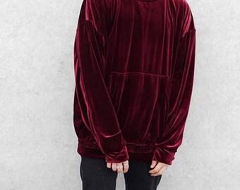 Velour Velvet Vanta DarkBlack Oversized Men's 80's Raw Edges Sweater Kanye Crew Neck / Sweatshirt