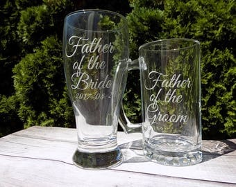 father of the groom beer glass, father of the bride beer glass, father of the bride glass, father of the groom glass, wedding party gifts, k