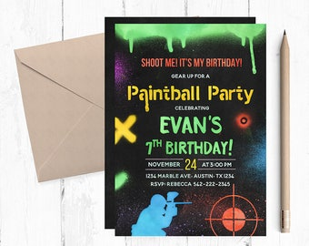 Paintball Party, Paintball Invitation, Paintball Birthday Invitations,  Paintball themed Party, Paintball invites, Paintball printable, army