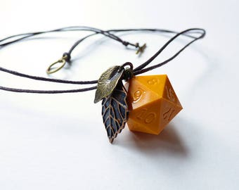 Pumpkin - Dungeons and Dragons D20, Necklace, Pendant, orange, gold, copper, RPG, D&D, Jewellery, Dice, brown, autumn, dnd