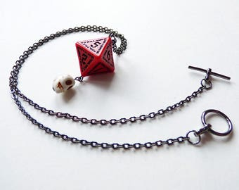 Deathlord - Dungeons and Dragons D8, Necklace, Pendant, read, black, skull, RPG, D&D, Jewellery, Dice, d20, dnd, semi-precious stone