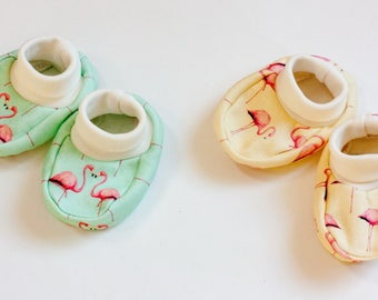 Flamingo Organic baby clothes/ baby booties/ baby shoes/ organic jersey baby booties with cuffs/ Slippers/ Baby Socks/ organic baby clothes