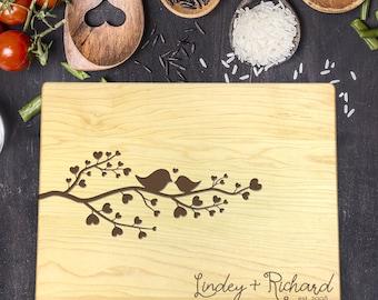 Personalized Cutting Board - Engraved Cutting Board, Custom Cutting Board, Wedding Gift, Housewarming Gift, Anniversary, Tree, Birds, B-0051