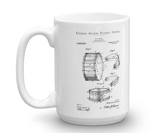 Barry Collapsible Drum Patent Mug 1917 - Musician Shirt, Music Art, Musician Gift, Drum Patent, Drummer Mug, Drum Set, Drummer Gift