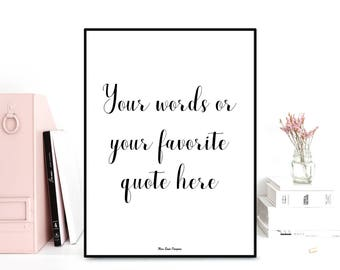 Custom poster, Printable wall, Poster quote, Inspirational quote, Motivational print, Typography quote, Black & white, Wall art decor