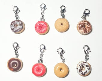 Cute donut charms,Zipper charms,Charm Bracelets,Mini donuts,Cute charms,Gift for girl,Miniature food,Donut charm,Food jewelry,Doughnut charm