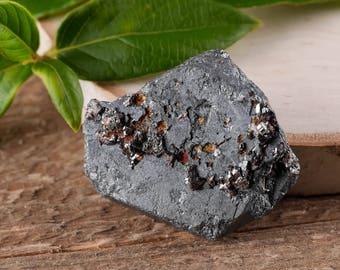 One Medium HEMATITE Crystal w/ RUTILE - Raw Hematite, Hematite Stone, Healing Stone, Healing Crystal, Rocks and Gems Rocks & Minerals E0475