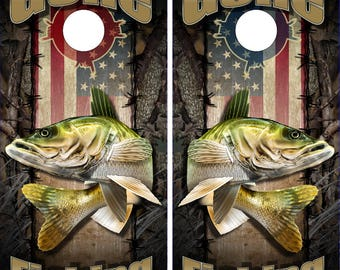 Wicked Wire American Walleye Fish Camo Cornhole Wrap Bag Toss Decal Baggo Skin Sticker Wraps