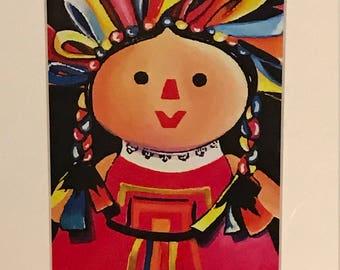 Mexican Maria Doll Print Black