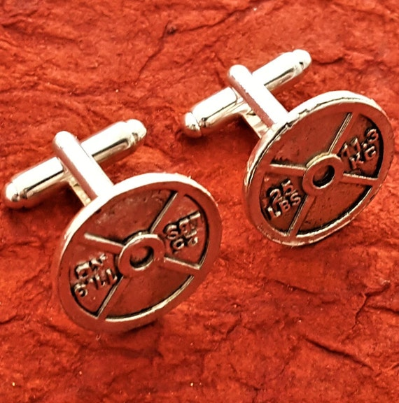 Fitness Cufflinks, Fitness Gifts for Men, CrossFit Barbell Cuff Links, Bodybuilding Weightlifter Cufflinks, Weight Plate Sports Charms Gifts