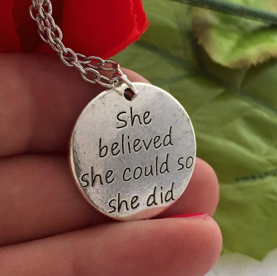 CrossFit Charm, She Believed She Could Charm Necklace, Inspirational Quotes, CrossFit Jewelry, Word Charms, Girl Power, Cross Fit Gifts Mom