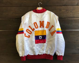 Vintage 80s Colombia Satin Champion Bomber Jacket
