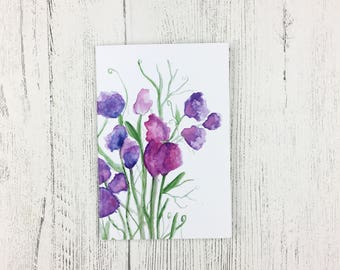 Notebook A6 / Mother's Day Gift/ Bridal Shower/ Gift for Women / Bridesmaid Gift / Gift for Friend / Sweet Pea Watercolour / Handbag Notepad