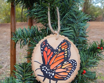 Monarch Butterfly Hand painted wood slice ornament