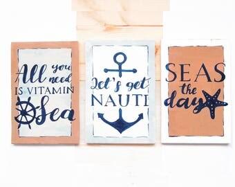 Nautical sign, Lets get nauti, Navy bedroom decor, Nautical wood sign, Seas the day, Beach house wall art, Funny bedroom sign, Vitamin Sea
