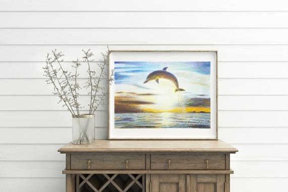 Dolphin jumping on the sea, original drawing by Francesca Licchelli, gift idea for children and boys, bedroom decore, nursery, home wall art