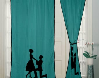 New Antique Design Home Door & Window Hand Block Printed Rod Pocket Turquoise Curtains